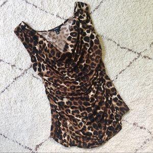 Leopard Sleeveless Blouse Top, Cheetah Print Shirt